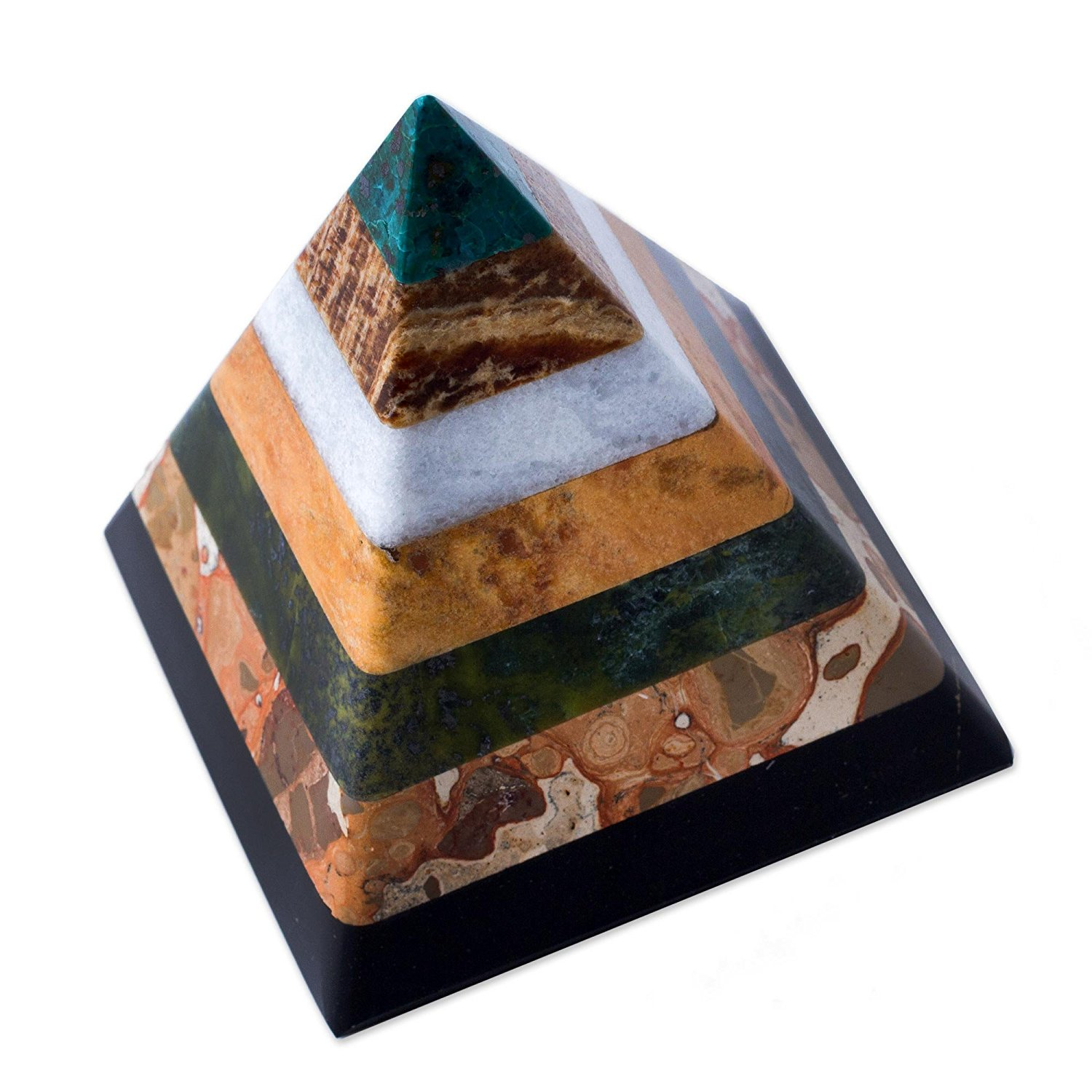hand crafted multicolor natural gemstone geometric positive energy spiritual healing pyramid sculpture 3 be positive apply feng shui